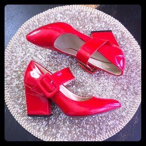 Shoes - Red Hot Patent Block Heel Mary Janes